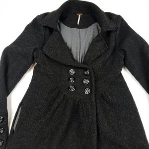 Free People Gray Double Breasted Baby Doll Coat